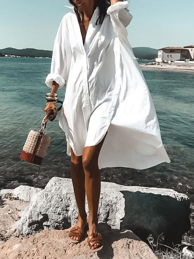 Woman Simple Casual Loose V Neck Long-Sleeved midi dress