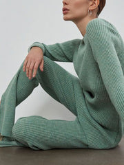 Women'S Fashion Solid Color Knitted Sweater Suit