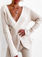 Sexy Casual V-Neck Long Sleeve  Sets