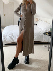 Women'S Fashion Slim Long Cardigan Button Knit Sweater Midi Dress