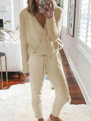 Woman's Casual Loose V-Neck Long Sleeve Top Pants Knitted Suit