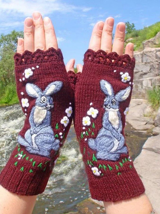 Women'S Wine-Colored Daily Animal Gloves