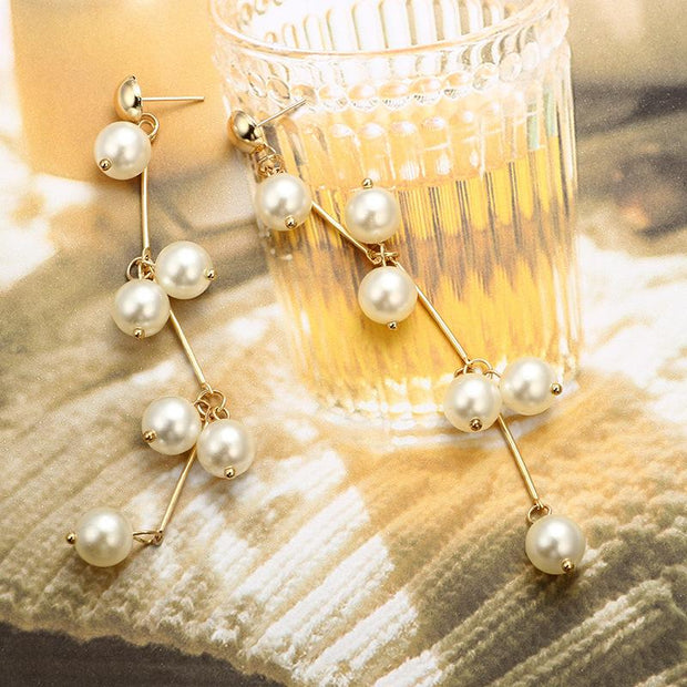 Woman Pearl Fringe Earrings Long Branch Bending Shape Earrings
