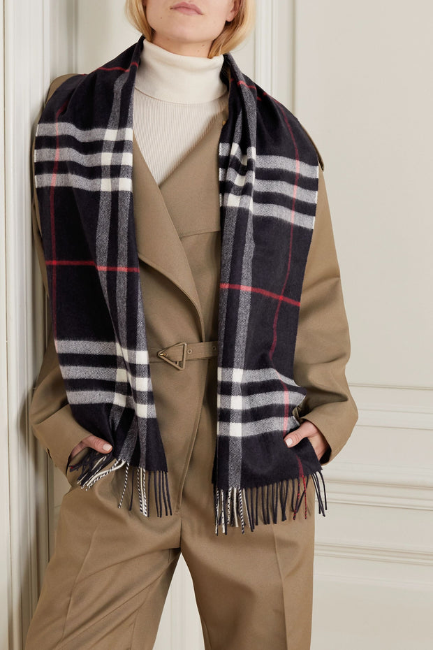 Women'S Fashion Fringed Checked Cashmere Scarf