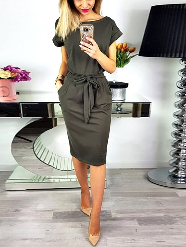 Women'S Casual Zeewer O Neck  Belt Midi Dress