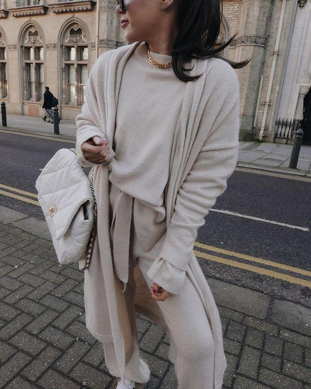 Women'S Fashion Round Neck Solid Color Temperament Long Sleeve Sweater Suit