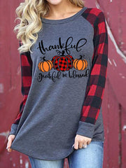 Women's Thanksgiving Thanksful Grateful And Blessed Printed Patchwork Christmas Sweatshirt