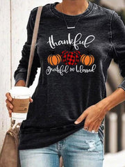 Women's Thanksgiving Thankful Grateful And Blessed Printed Long Sleeve Sweatshirt