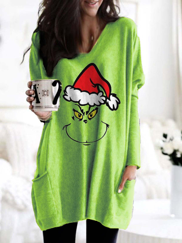 Grinch Face Christmas Long Sleeve T-Shirt