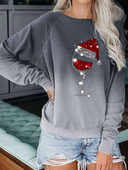 Christmas Crystal Wine Glass Print Gradient Casual Sweatshirt