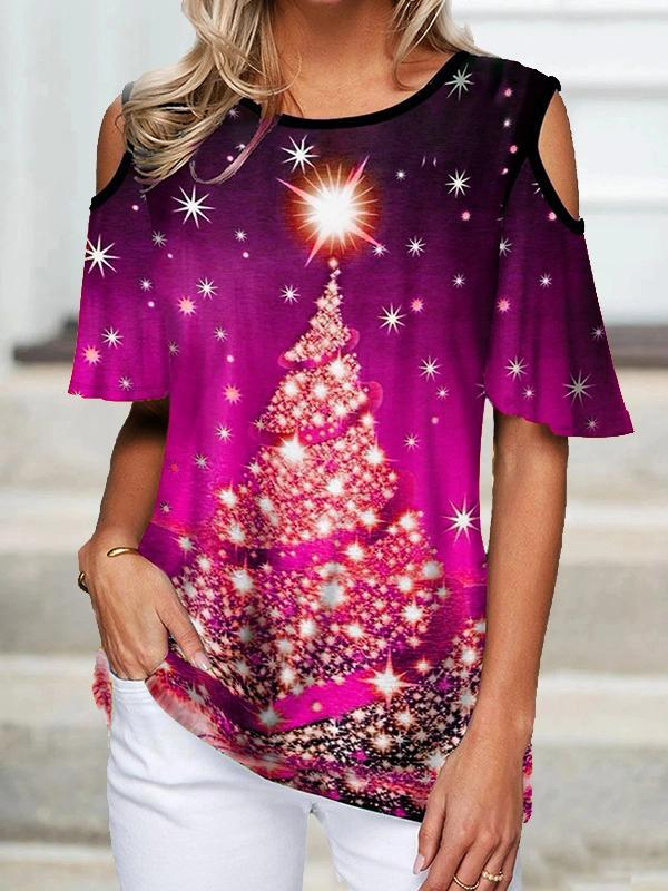 Christmas Tree Cold Shoulder T-Shirt