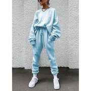 Women'S Casual Sports Style Round Neck Solid Color Long Sleeve Two-Piece Suit