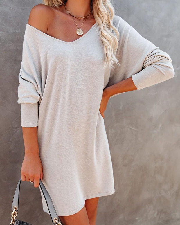 Women's Solid Color Long Sleeve Sweater Dress