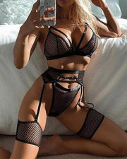 Women'S Mesh Hollow Garter Bra Suit Underwear