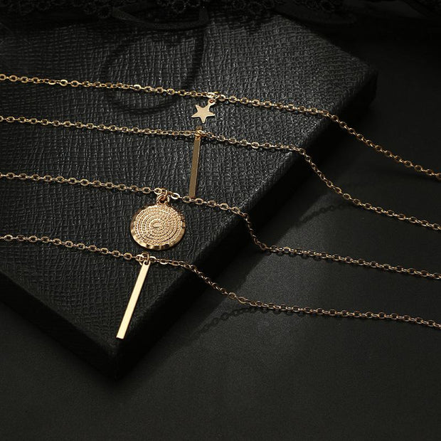 Woman fashion beach pentagram pendant multilayer necklace