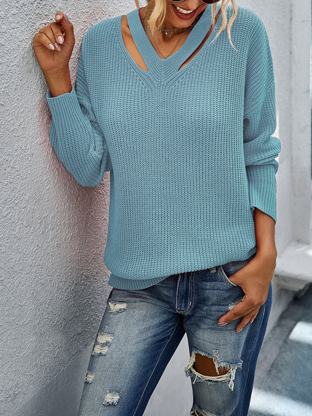 Women'S Solid Color V-Neck Cutout Long-Sleeved Sweater
