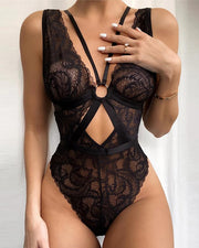 Women'S RO Seam Lace O-Ring Hollow Front Backless Teddy Underwear