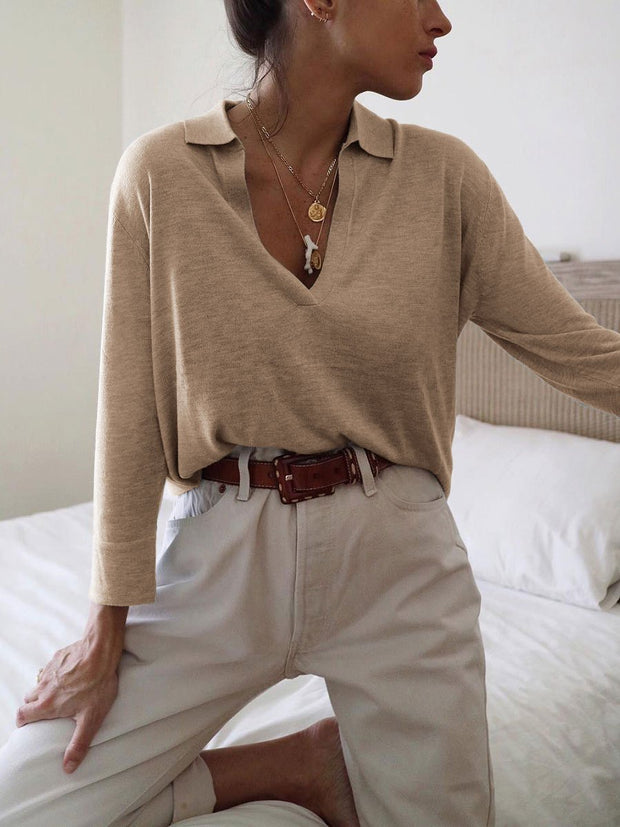 Woman Simple V-neck Blouses