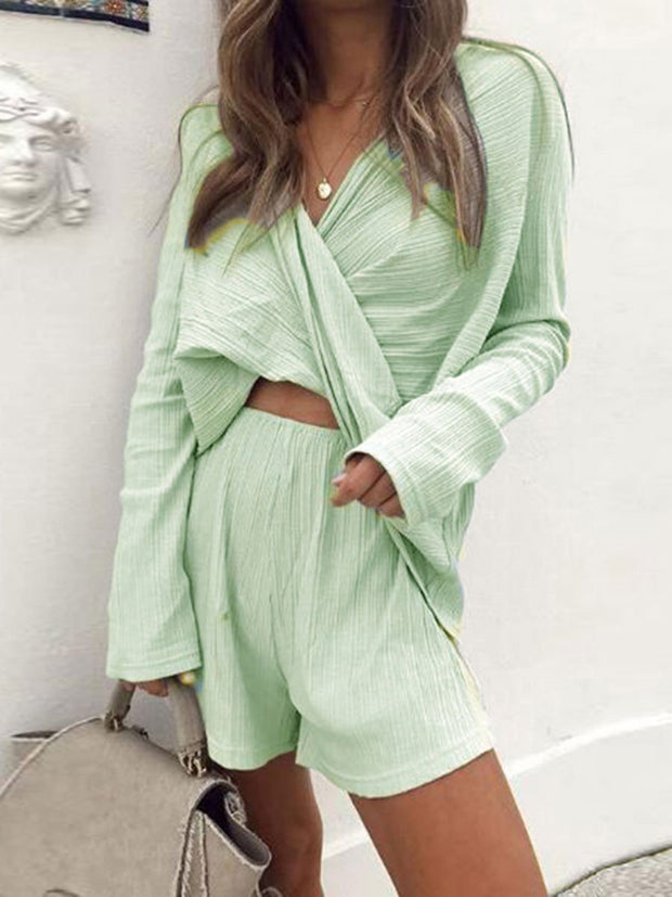 V-neck Short Fashion Two-piece Suit