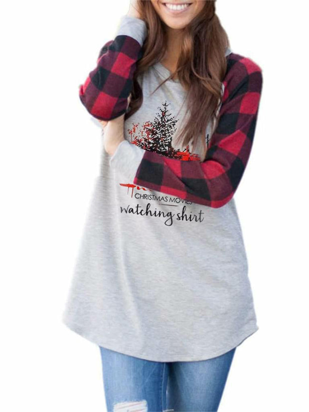 Women's Christmas Hallmark Stitching Sweatshirt