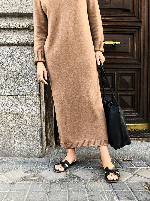Women'S Pure Color Round Neck Casual Knitted Dress