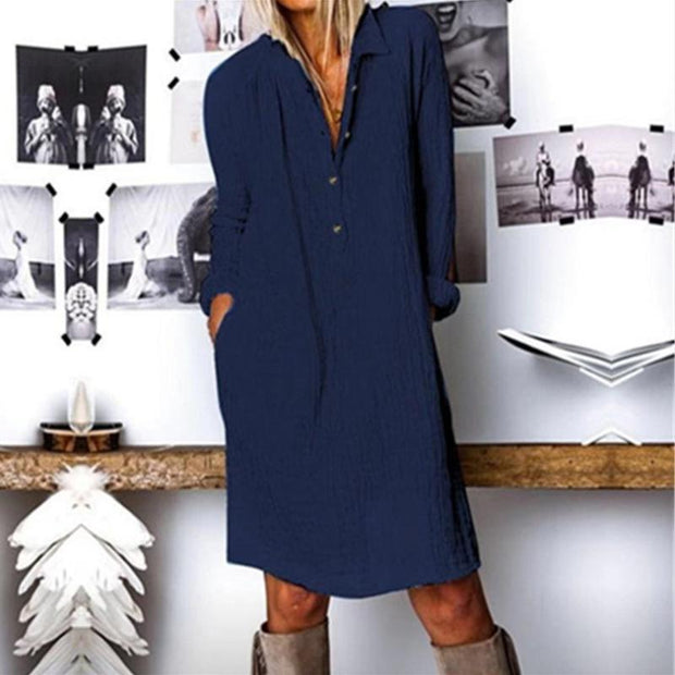 Women'S Button Linen Long Sleeve Midi Dress