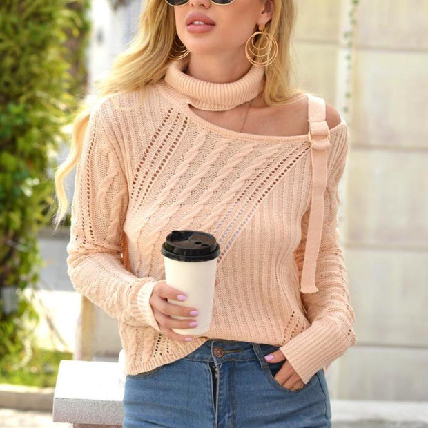 Women'S Turtleneck Halter Strapless Sweater