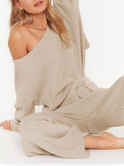Women's Boat Neck Knit Loose Two-Piece Set