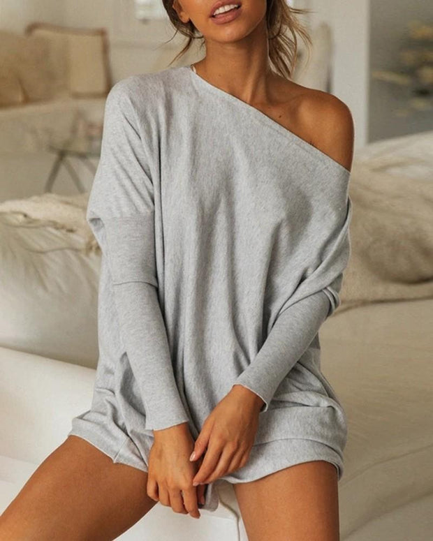Women'S One Shoulder Solid Long Sleeve Casual Shirt
