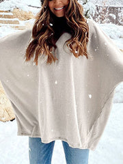 Women'S Fashion Oose Round Neck Bat Sleeve Knitted Sweater