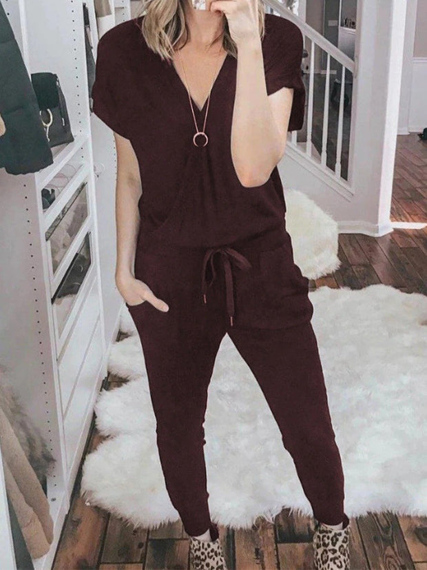 Woman Short Sleeve Solid Color Pockets Lounge Sets