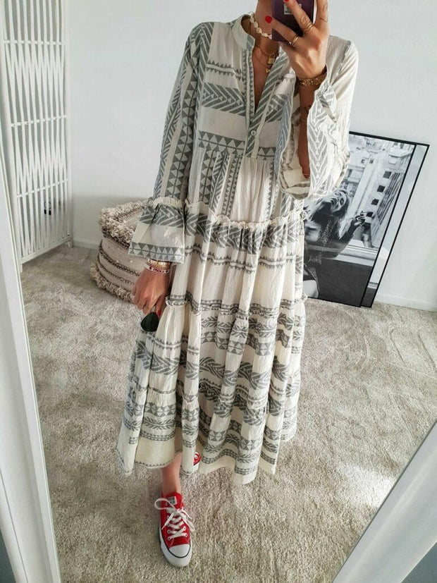 Women'S Geometric Print V-Neck Long Skirt Holiday Beach Dress