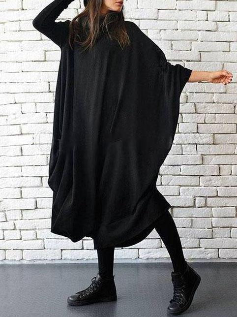 Women'S Black Batwing Sleeve Heaps Collar Asymmetric Midi Dress