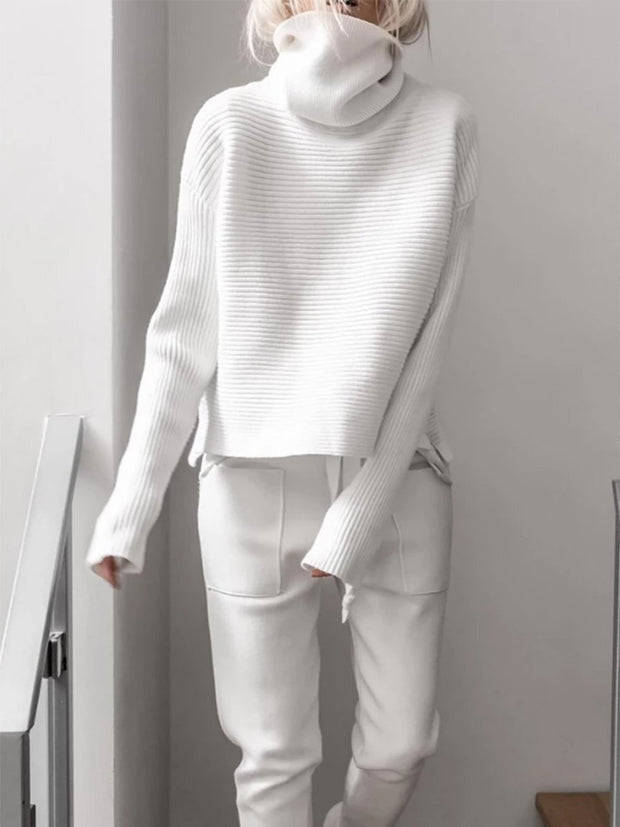 Woman's knitted two pieces pants suits