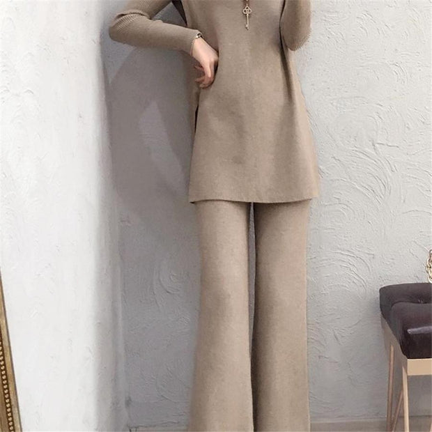 Women'S Knitted Sweater Pants Suit