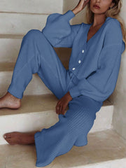 Comfortable Casual Button Solid Color Suit