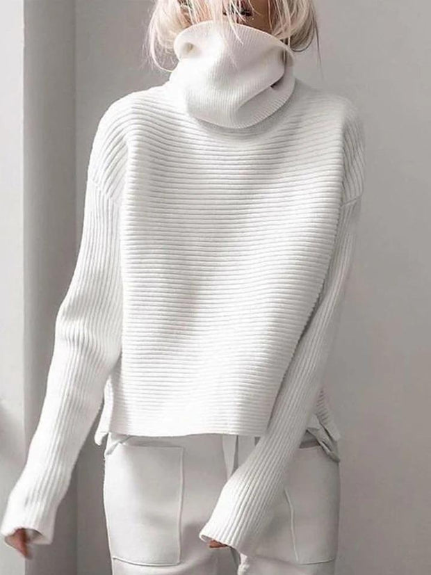 Women'S  Pullover Knitted Turtleneck Sweater