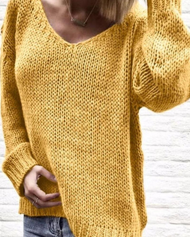 Women'S Halloween Cozy V-Neck Long Sleeve Sweater