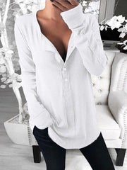 Women'S Fashion long-sleeved T-shirt v-neck solid color button top