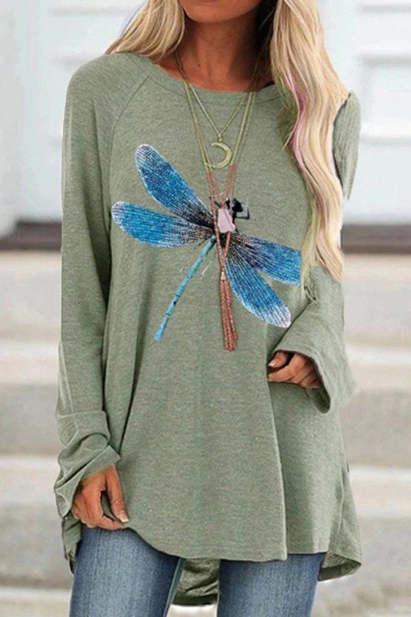 Woman'S Dragonfly Print Loose Round Neck Long Sleeve T-Shirt