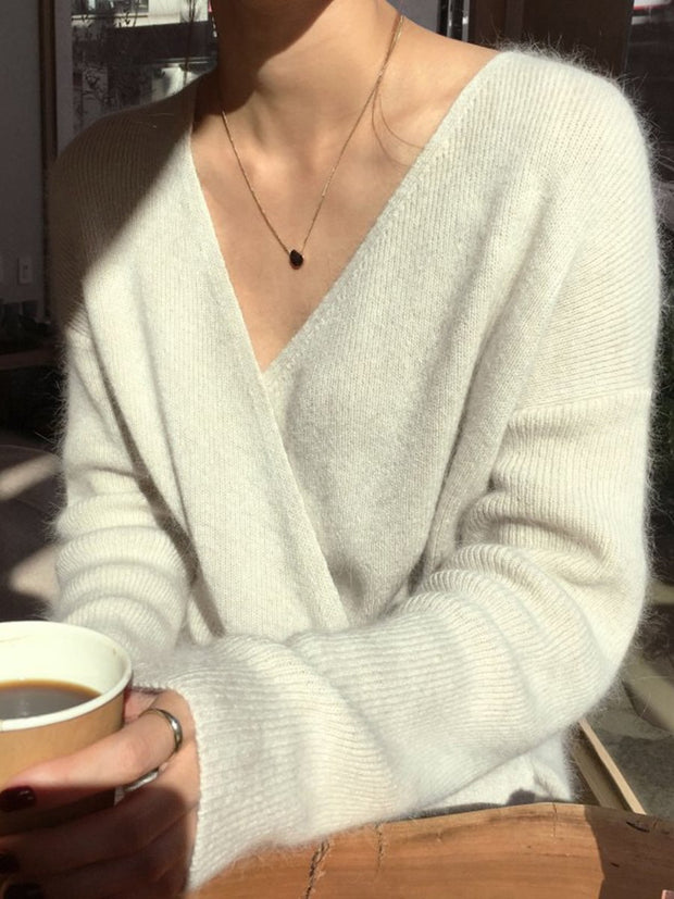 Woman Simple V-neck Long Sleeve Knit Blouses