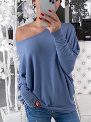 Women's  Fashion One Shoulder Women's Long Sleeve Top