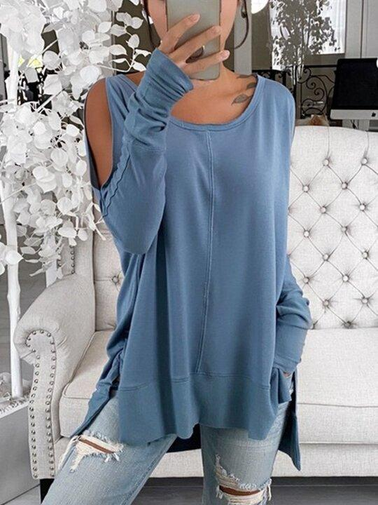 Women's  Off-shoulder Pullover Loose Long-sleeved Solid Color All-match Top