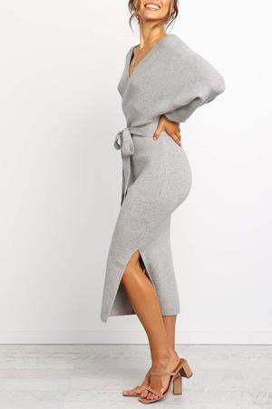 Women'S Zeewer V Neck Backless Sweater Dress