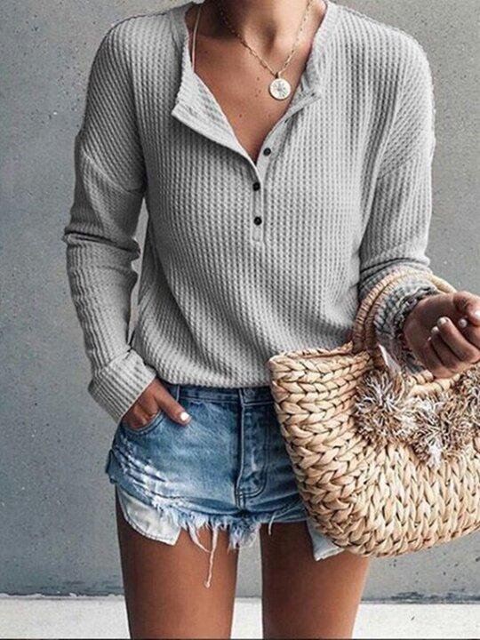 Woman Round Neck Open Long Sleeve Tops