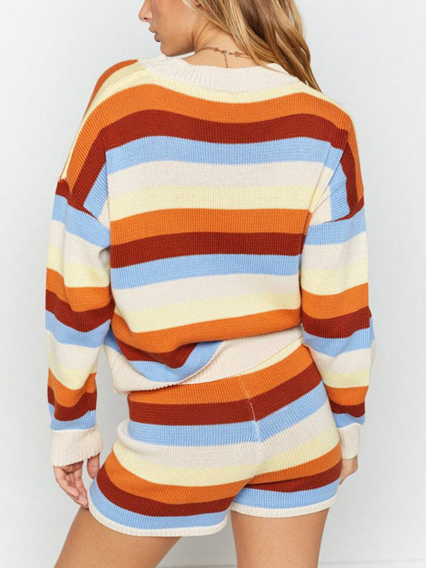 Women Long Sleeve Striped Sets