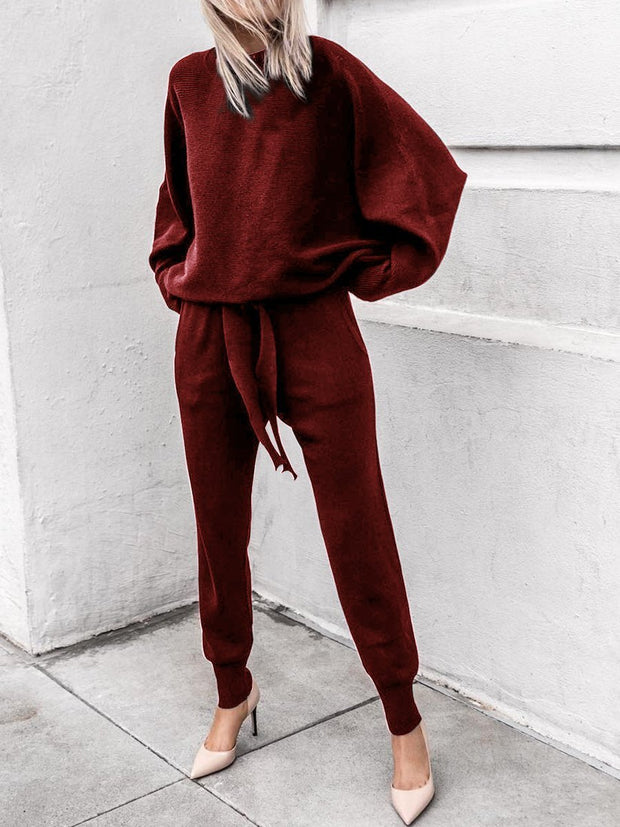 Women'S Halloween Fashion Casual Long Sleeve Round Neck Solid Color Two-Piece Suit
