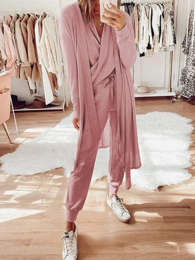 Woman's Casual Loose Top Pants Jacket Knitted Three Piece Suit