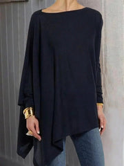 Women's Navy blue cotton blend crew neck long sleeve shirts