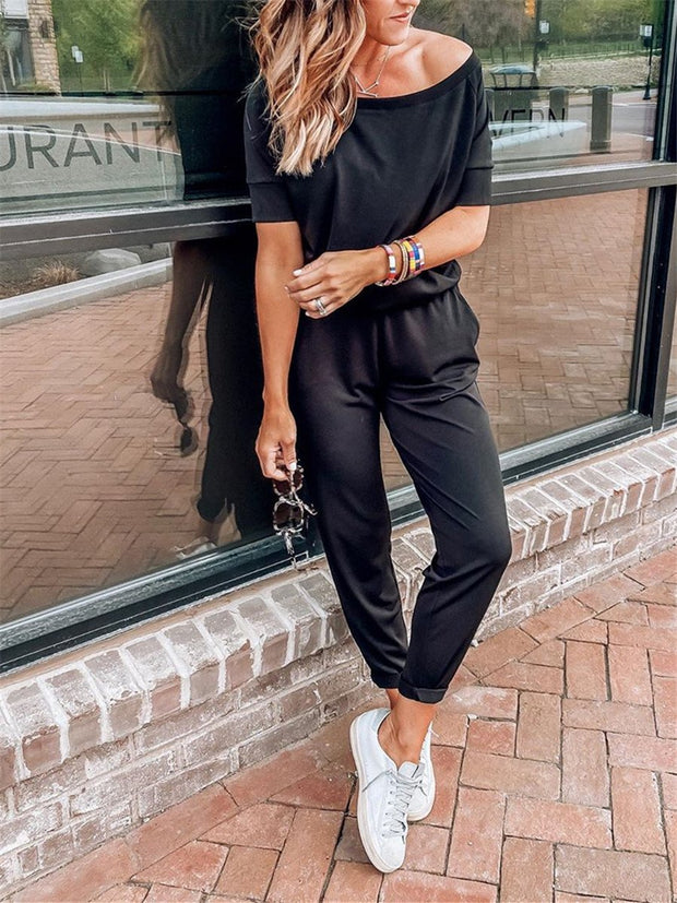 Simple casual loose short sleeve suit